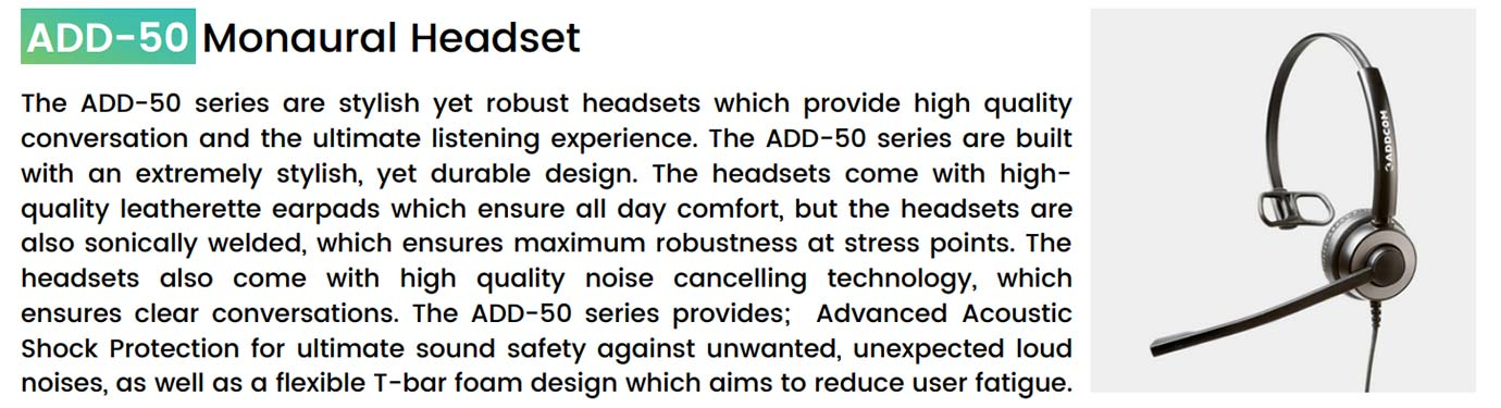 Addcom (ADD-50) Executive Monaural Headset