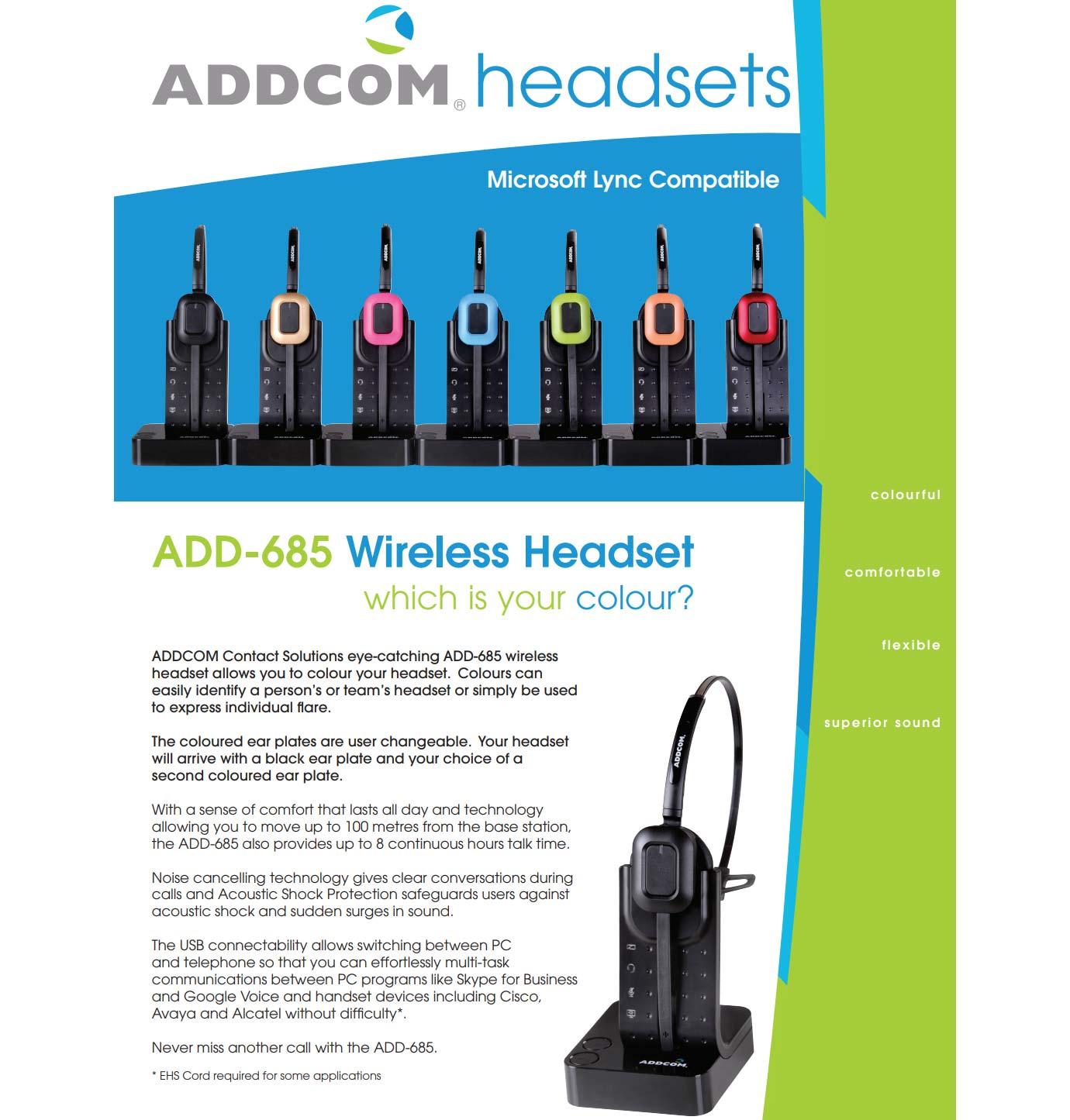 Addcom (ADD-685) Wireless Monaural Headset