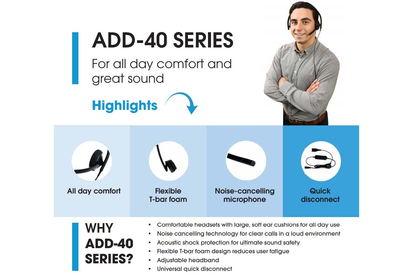 Addcom (ADD-40) Monaural Headset