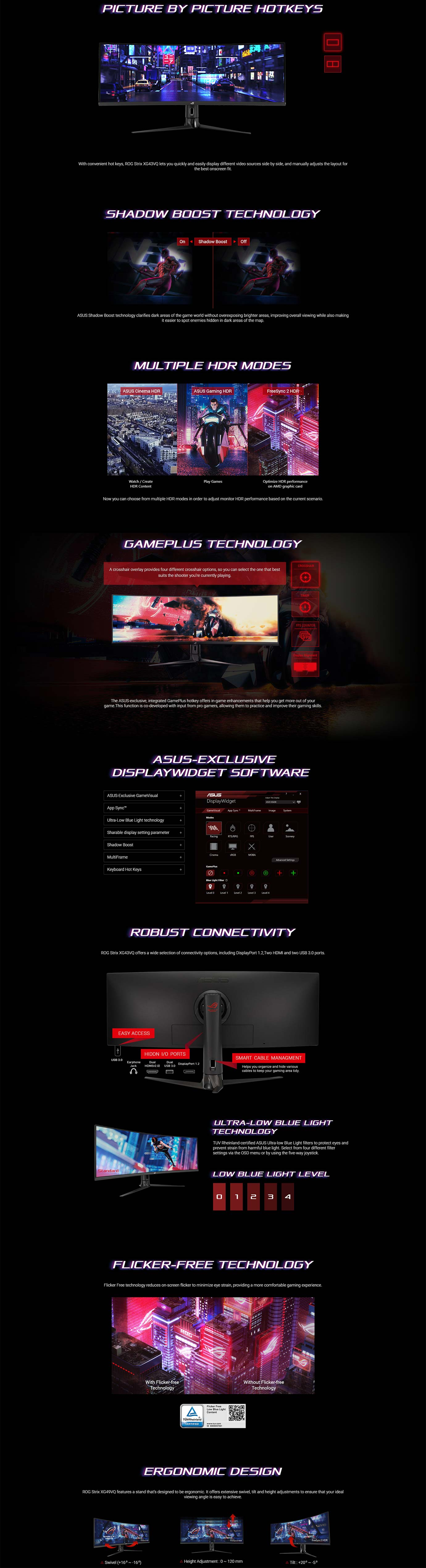 ASUS ROG Strix XG43VQ 43inch Super Ultra-Wide 120Hz FreeSync2 Curved Gaming Monitor