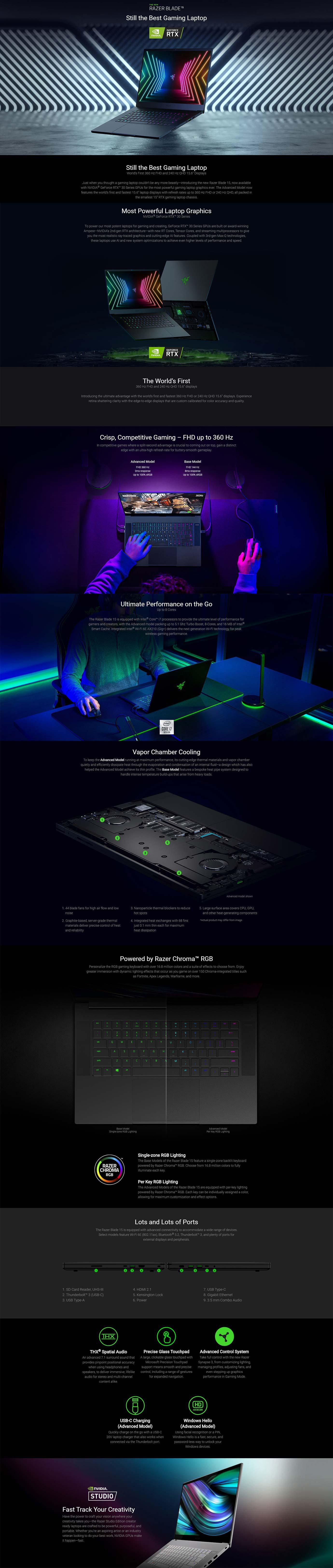 Razer Blade 15 Advanced Model 360Hz Laptop