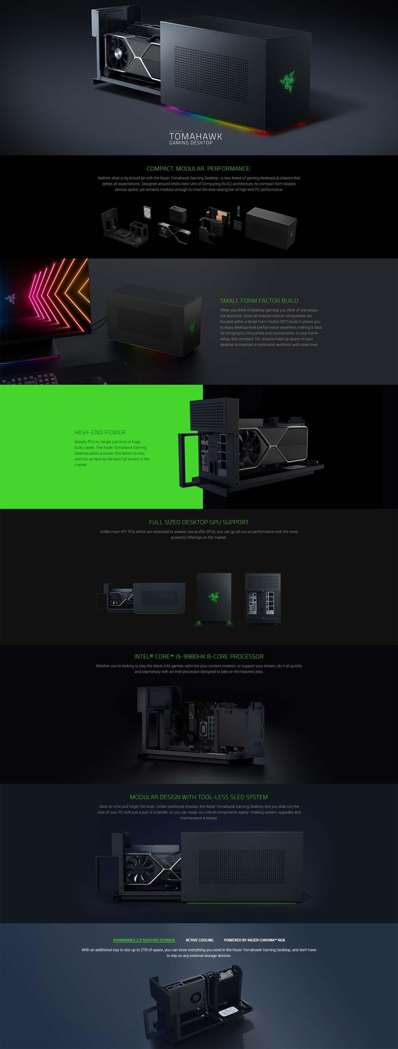 Razer Tomahawk Gaming Desktop i9-9980HK 16GB RAM 512GB SSD +2TB HDD 750W Gaming Desktop