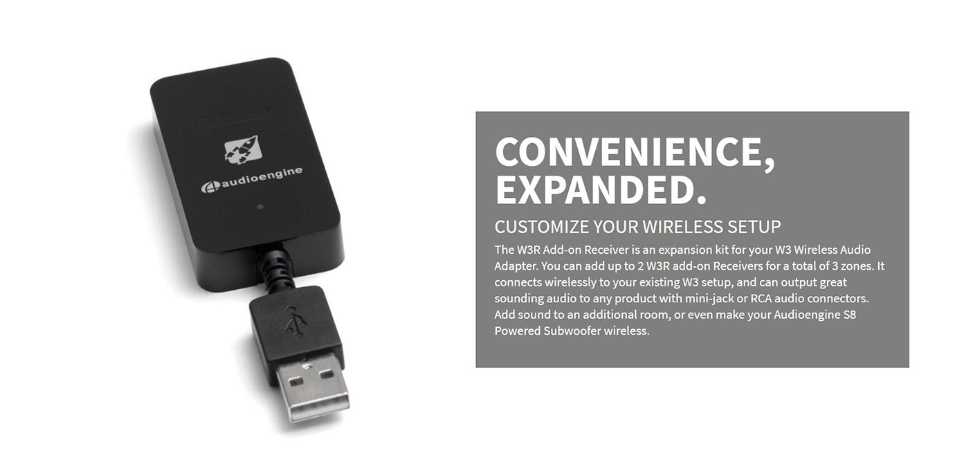 Audioengine W3R Wireless Audio Add-On Receiver for W3
