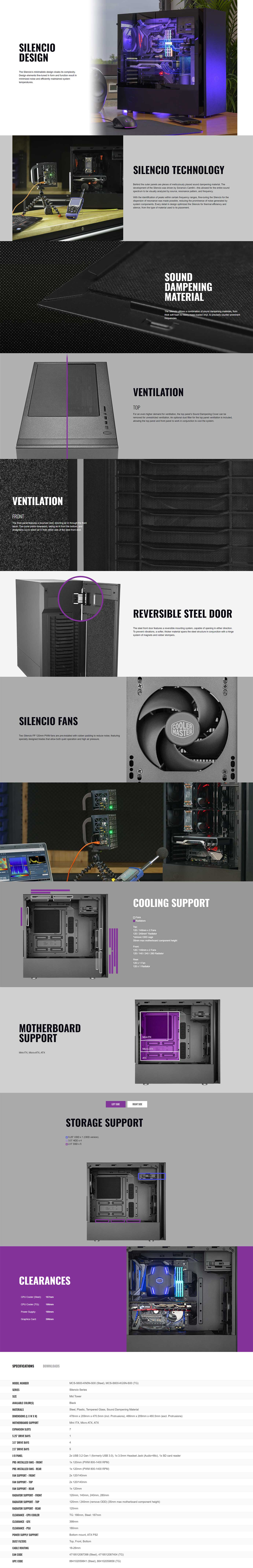 Cooler Master Silencio S600 ATX Case wit Seamless Side Panel
