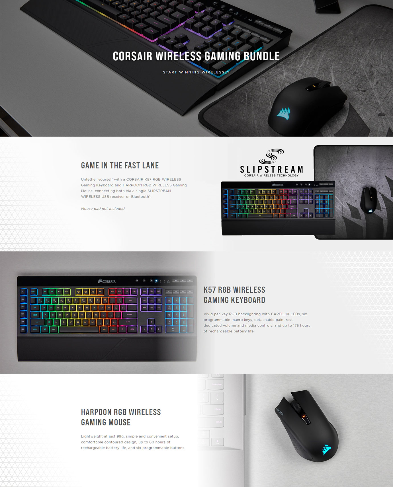 Corsair K57 Keyboard with Harpoon Mouse Gaming Bundle