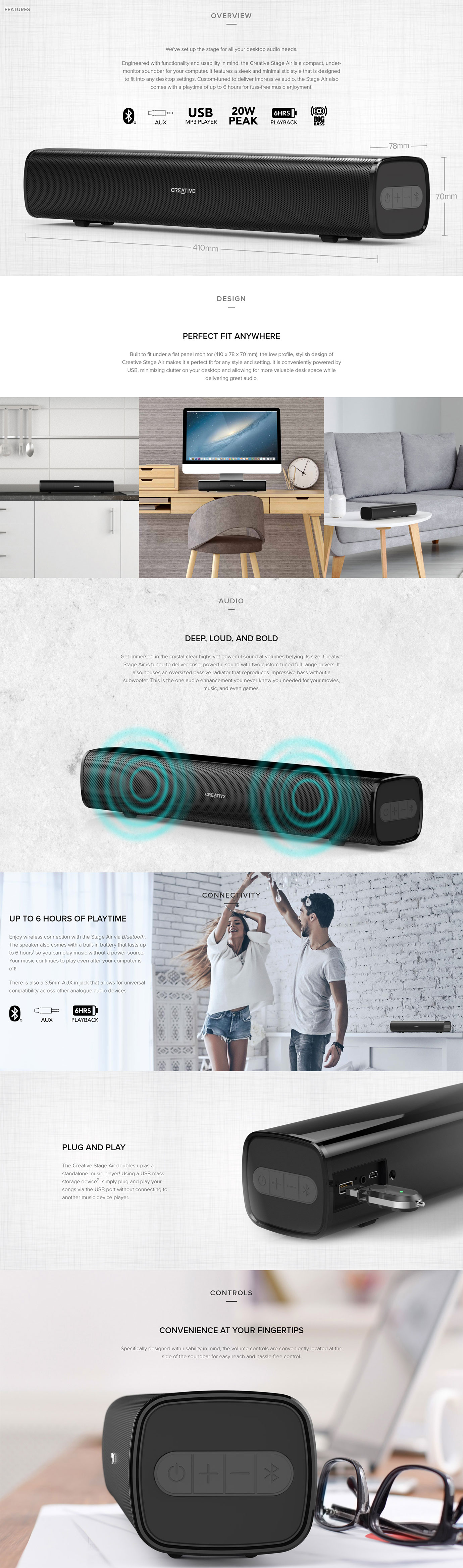 Creative Stage AIR Bluetooth Under Monitor Speaker