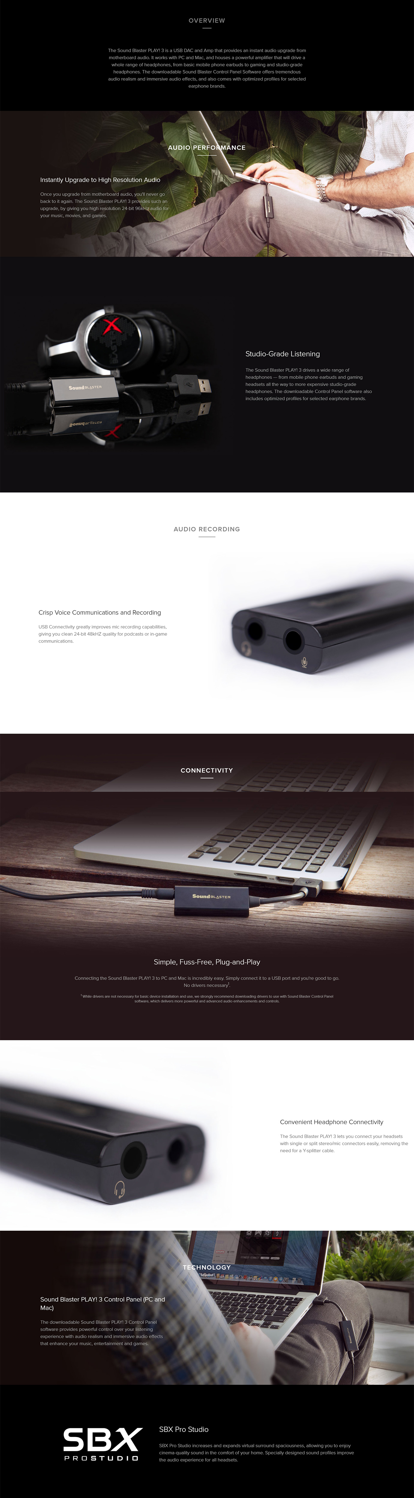 Creative Sound Blaster Play 3 USB DAC Amp and Sound Card