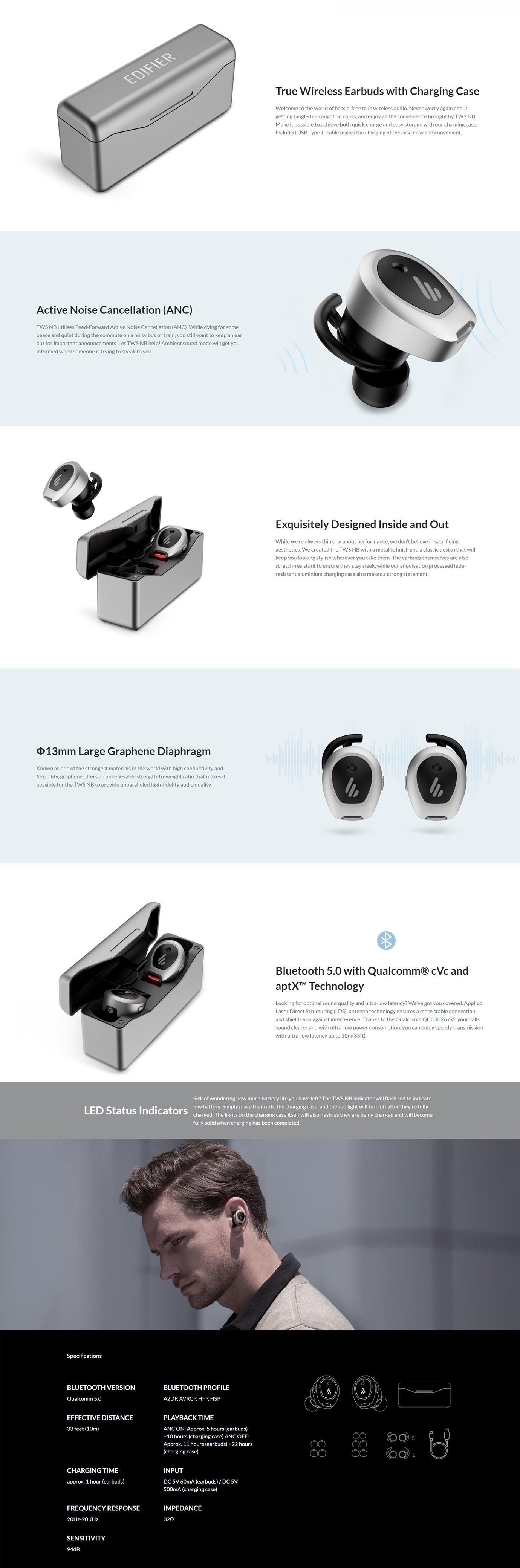 Edifier TWS NB True Wireless Earbuds with Active Noise Cancellation