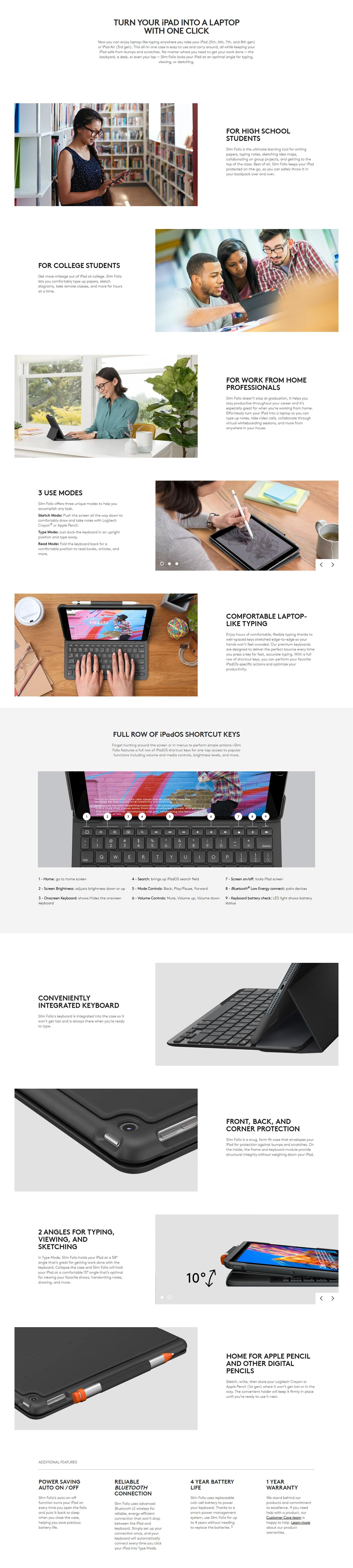 Logitech Slim Folio for iPad Keyboard Case