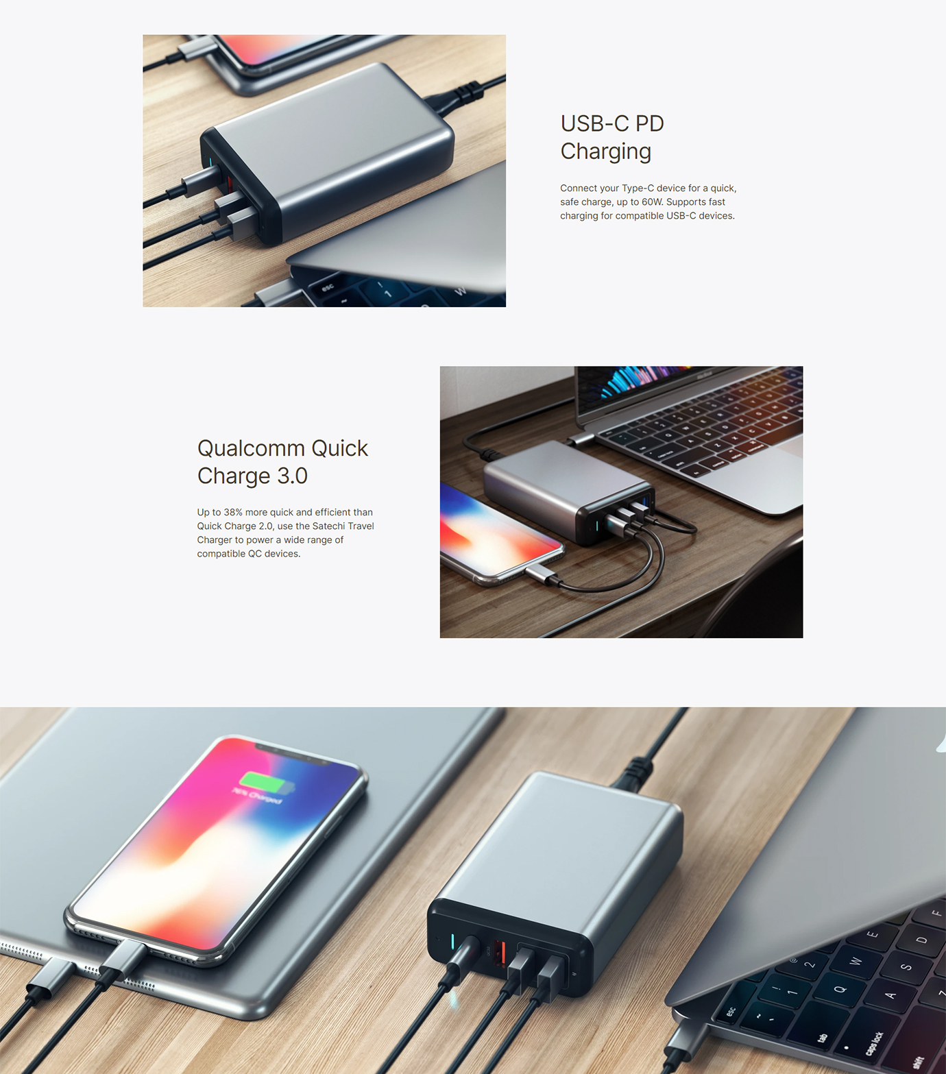 Satechi Type-C 75W MultiPort Travel Charger